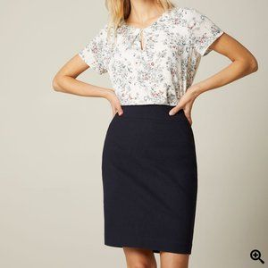 NWT RW&Co. navy workwear fitted pencil skirt